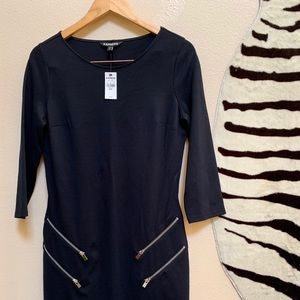 NWT EXPRESS BLACK 3/4 Sleeve Dress with zippers
